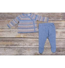 Angel Dear Blue & Gray Striped 2-Piece Footed