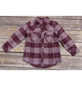 Frenchie Wine Glen Plaid Button Down Shirt