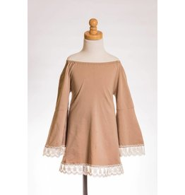MLKids Taupe Off The Shoulder Shirt