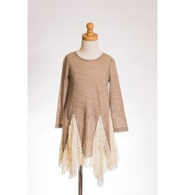 MLKids Taupe Long Sleeve Shirt With Lace
