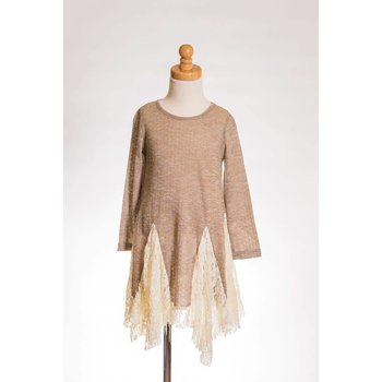 MLKids Brown Long Sleeve Shirt with Draping Ivory Eyelet Lace