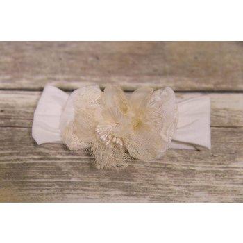 Bebemonde Cream Mesh and Eyelet Flower Newborn Headband