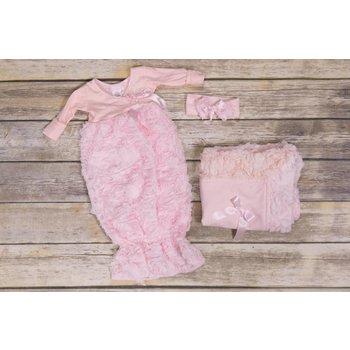 Bebemonde Pink Rose Bow and Ribbon Newborn Headband