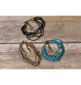 Bela & Nuni Multi String Beaded Lucky Coin Bracelet