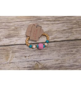 Bela & Nuni Beaded and Pink Pom Pom Bracelet