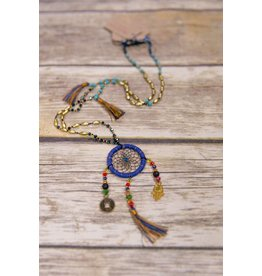 Bela & Nuni Navy Blue Charm Beaded Necklace