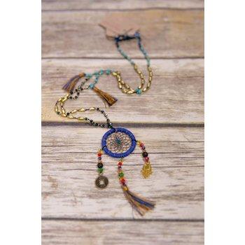 Bela & Nuni Navy Blue Charm Beaded Necklace