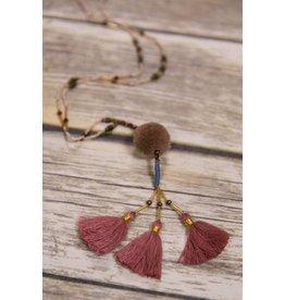 Bela & Nuni Rose & Bronze  Beaded Necklace