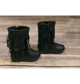 Rugged Bear Black Faux Leather Fringe Boot