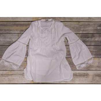 Silver Jeans Off-White Lace Flare Long Sleeve Button Down