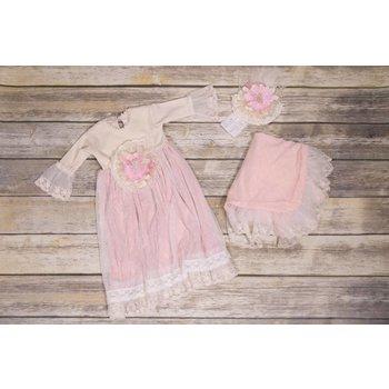 Frilly Frocks Millicent Pink Rose Blanket