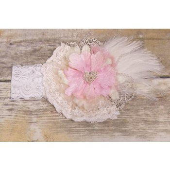 Frilly Frocks Over The Top Lace Headband with Pink Flower and Feathers