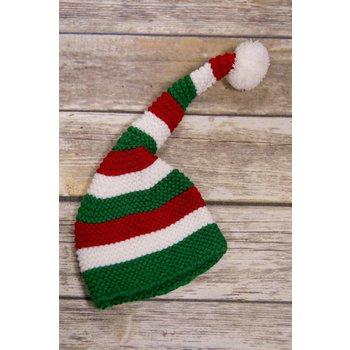 Baby Ganz Red/White/Green Knit Elf Cap 0-12M