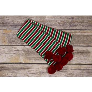 Ganz Christmas Striped Pom Pom Scarf
