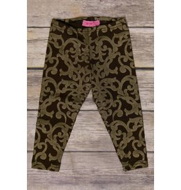 Haven Girl Abstract Swirl Gold and Brown Full Length Leggings