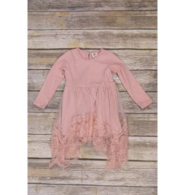 MLKids Blush Pink Dress with Mesh Lace