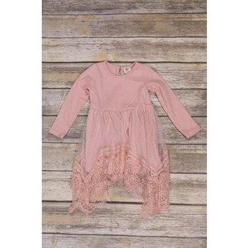 MLKids Blush Pink Dress with Mesh Eyelet Trim