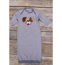 CachCach Blue and White Stripe Puppy Gown 0-2M