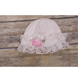 CachCach White Lace Trim Cap with Pink Rose