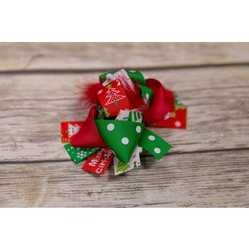 Christmas Red Feather 5 in. Boutique Bow