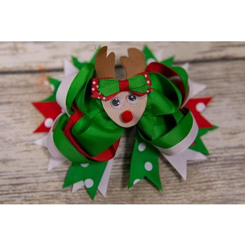 Christmas Reindeer Googly Eye 5 in. Boutique Bow