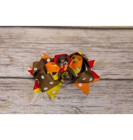 Thanksgiving Ribbon Turkey Polka Dot 5 in. Boutique Bow