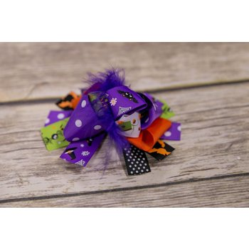Halloween Purple Feather 5 in. Boutique Bow