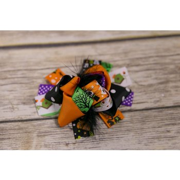Halloween Black Feather 5 in. Boutique Bow