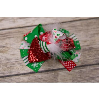 Christmas Red Glitter Mistletoe 5 in. Boutique Bow