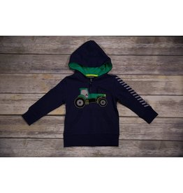CR Sports Navy Blue Hoodie with Big Green Tractor