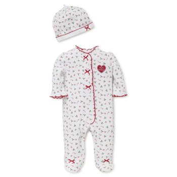 Little Me Candy Cane Footie With Hat