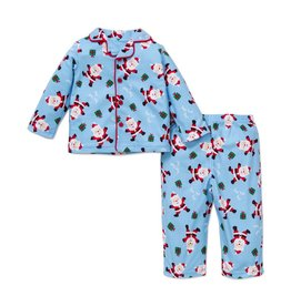 Little Me Blue Santa PJ Set