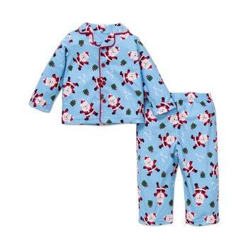 Little Me Blue Santa Button Down Collard PJ Set