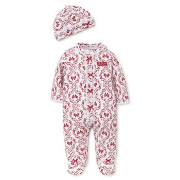 Little Me Holiday Damask Footie