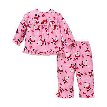 Little Me Pink Santa Red Bow PJ Set