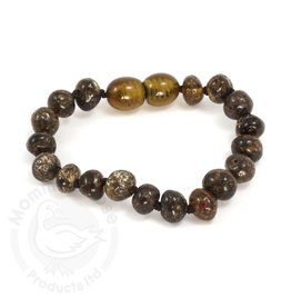 Momma Goose Baroque Green Amber Teething Bracelet (Baby)