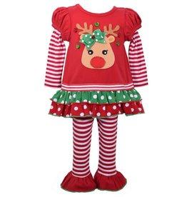 Bonnie Jean Red Christmas Reindeer White Striped Legging Set