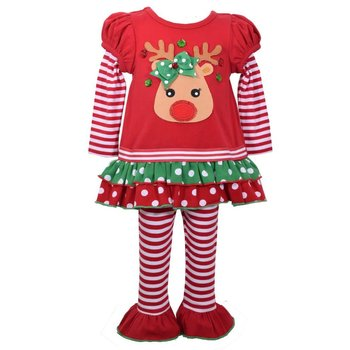 Bonnie Baby Red Christmas Reindeer White Striped Legging Set