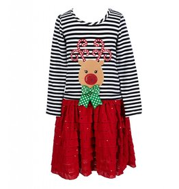 Bonnie Jean Striped Reindeer Red Ruffle Dress