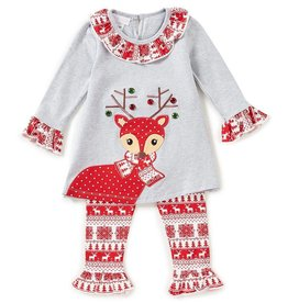 Bonnie Baby Reindeer Red Christmas Print Tunic and Legging Set