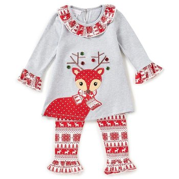 Bonnie Jean Reindeer Red Christmas Print Tunic and Legging Set