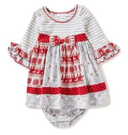 Bonnie Baby Grey, Silver And Red Damask Christmas Dress