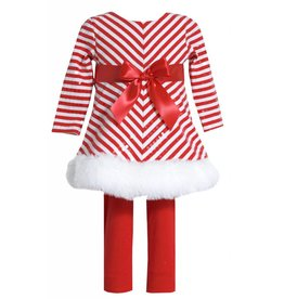 Bonnie Jean Candy Cane Striped Tunic Set Trimmed with Fur