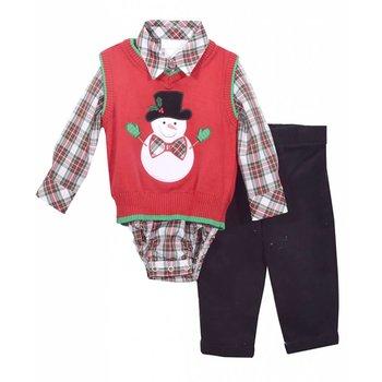 Matt's Scooter Plaid Onesie with Snowman Sweater Vest and Black Pant Set