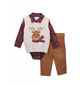 Matt's Scooter Plaid Onesie with Reindeer Sweater Vest and Pant Set
