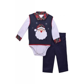 Matt's Scooter White Onesie with Santa Sweater Vest and Pant Set