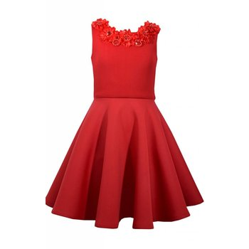 Bonnie Jean Red Air Puff Dress with Red Flowers and Jewels