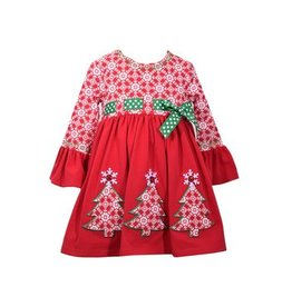 Bonnie Baby Bell Sleeve Christmas Dress
