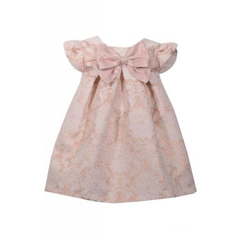 Bonnie Jean/Baby Rose Gold Social Dress with Bow