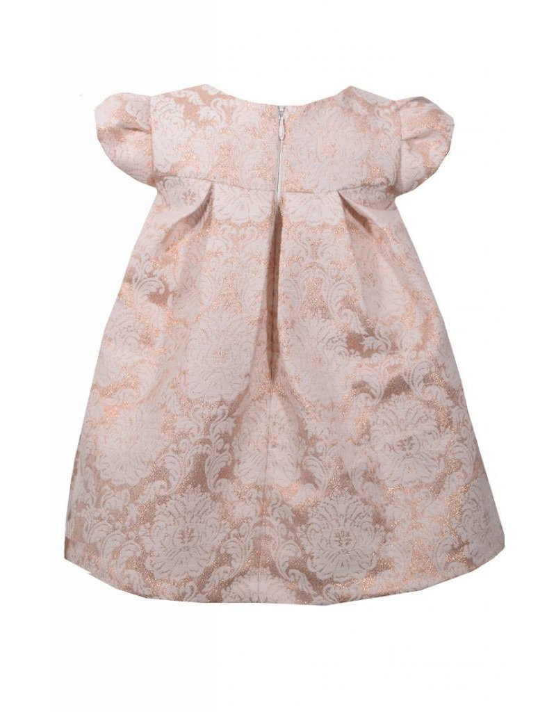 Bonnie Jean Rose Gold Damask Dress With Big Bow